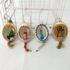Handmade Vintage Egg Shell Diorama Ornaments LOT 4